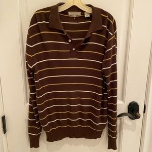 Long Sleeve Brown Collared Shirt with Striped